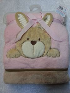 PERSONALISED BABY BLANKET - Pink Rabbit - Personalise With a Name/Message Of Your Choice